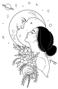 """""""Just like the moon, your greatest magic will come in times of darkness when y… – Tattoo Drawings Kunst Tattoos, Tattoo Drawings, Body Art Tattoos, Art Drawings, Moon Tattoos, Celtic Tattoos, Tattoo Sketches, Tattoo Art, Sleeve Tattoos"""