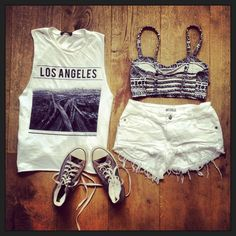 T-shirt , Sneakers, Ripped Short Jeans|  Try This Out! Casual Summer Outfit Ideas