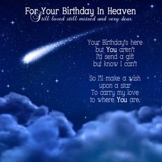 For Your Birthday In Heaven - Still loved still missed and very dear - Your Birthday's here but You aren't I'd send a gift but know I can't So I'll make a wish upon a star To carry my love to where You are