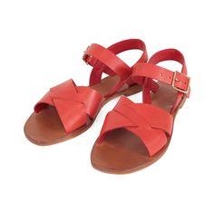 Flat Sandal - Red Veg Leather – Clare V.