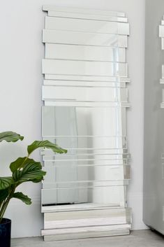 This layered mirror is made up of different sized pieces of glass to make it a striking feature for your wall. Contemporary Wall Mirrors, Modern Mirrors, Dream Shower, Comfortable Office Chair, Simple Addition, Home Desk, Wood Veneer, Home Accessories, Interior Design