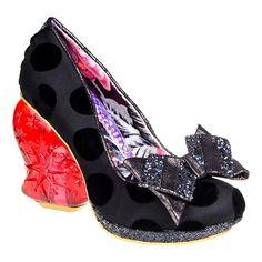 Irregular Choice Strawberry Fudge Light Up Heel Shoe (Black/Red)
