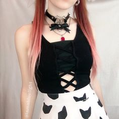 Black Cat Ribbon Choker from 8th Sin