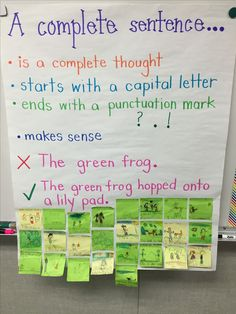 Complete Sentence anchor chart with student examples