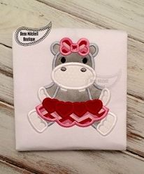 Hippo Valentine Applique - 4 Sizes! | What's New | Machine Embroidery Designs | SWAKembroidery.com Beau Mitchell Boutique