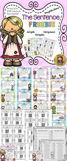 Use these 24 TASK CARDS AND QR CODE CARDS featuring favorite fairytale characters to provide an element of fun to learning grammar. https://www.teacherspayteachers.com/Product/BACK-TO-SCHOOL-THE-SENTENCE-FREEBIE-SIMPLE-COMPOUND-COMPLEX-GRAMMAR-2039368