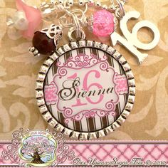 MItzvah Ideas http://www.bmmagazine.com/home/mitzvah-ideas  - SWEET 16 Gift, Personalized Name Necklace (or key chain), Number 16 Charm, Sweet 16, Birthday Gift, MILESTONE BIRTHDAY, Personalized Jewelry