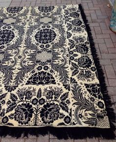 Antique Coverlet Woven Signed Blue Wool 1853