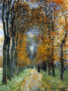 How lovely it would be to be strolling here.  The smell of autumn, leaves underfoot... Claude Monet. The Avenue (1878).