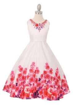 664447a8274 Ginger SnapsFlowergirl dresses · New Girls White Pink Rose Print Satin Dress  Size 16 Wedding Pageant Party Formal