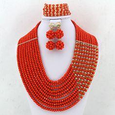 African Wedding Crystal Jewelry Set Fashion Nigerian Beads Costume Necklace Jewelry Set – USD $ 79.99