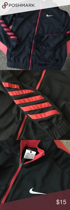Nike Jacket Boys size L.  Excellent condition. Red and black. Fitted arm bands and waist band. Zips up Nike Jackets & Coats