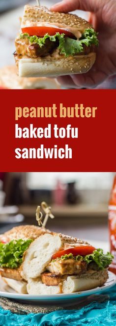 Thai-inspired baked peanut tofu is baked up and stuffed into rolls with spicy sriracha spiked mayo to create these mouthwatering vegan sandwiches.