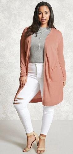 Plus Size Knit Cardigan