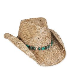 Sun  N  Sand Dark Natural   Turquoise Beaded-Trim Cowboy Hat 5f403f82629d