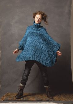 Comfort Poncho in Rowan Big Wool   Free Pattern PDF   Wise Badger