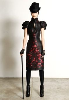 Belle Époque inspired accessories Black wool stockings, cane and corset like dress