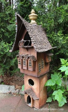 Fairy gardens house miniature scale tower by beneath the ferns two