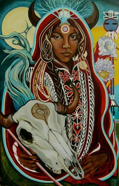 """White Buffalo Calf Woman (Lakota: Pte Ska Win / Pteskawin / Ptesanwi) is a sacred woman of supernatural origin, central to the Lakota religion as the primary cultural prophet. Oral traditions relate that she brought the """"Seven Sacred Rituals"""" to the Teton Sioux."""