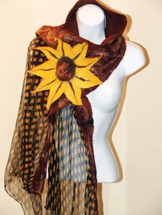 Nuno Felted Scarf Sunflower wrap