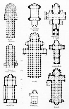 Plans of Romanesque Churches - lasting memory of my art history degree! by beatriz Architecture Romane, Detail Architecture, Cathedral Architecture, Romanesque Architecture, Sacred Architecture, Classic Architecture, Architecture Drawings, Historical Architecture, Architecture Religieuse