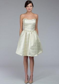 Scoop neck and cocktail skirt in French gold foil metallic striped fabric | Kate McDonald Little White Dress | https://www.theknot.com/fashion/samantha-metallic-kate-mcdonald-little-white-dress-wedding-dress