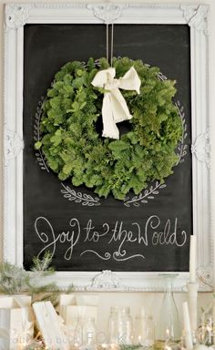 Green Wreath... Black Chalkboard...