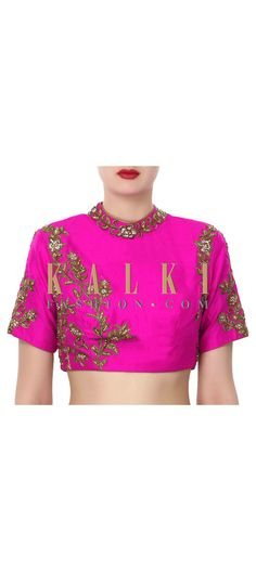 Buy Online from the link below. We ship worldwide (Free Shipping over US$100). Product SKU - 320019. Product Price - $149.00. Product Link - http://www.kalkifashion.com/pink-blouse-features-with-embroidered-collar-only-on-kalki.html