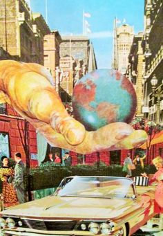 Buy He Offered Her the Whole World, a Paper on Paper by Jo Muench from United States. It portrays: Popular culture, relevant to: giant hand, retro, skyscrapers, vintage, altered art, woman, car, city, collage, earth Old fashioned cut and paste collage using vintage book and magazine illustrations pasted to paper. The setting is a crowded city street. A woman prepares to her vintage convertible. Above her, a giant hand reaches out and, in the hand is the planet earth.