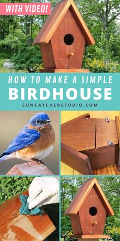 How to Make a DIY Homemade Nesting Box with these Free Birdhouse Plans! A fun outdoor woodworking project for families, adults, or kids. With a few simple materials and a step-by-step video, you can make this beautifully simple birdhouse for your porch, backyard, or garden and attract a flourish of birds! If you love bird watching, now you can do it from the comfort of your porch. Attract bluebirds, owls, and woodpeckers to your yard with this rustic DIY birdhouse design. Dyi Bird House, Bird House Plans Free, Bird Houses Diy, Backyard Projects, Garden Projects, Garden Ideas, Diy Projects For Beginners, Cool Diy Projects, Bird Feeder Plans