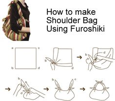 I leave a large square scarf in the bottom of my purse and use this technique for a last minute recyclable shopping bag.