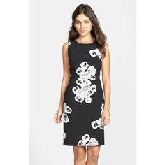 Ellen Tracy Floral Print Crepe Sheath Dress featuring polyvore, fashion, clothing, dresses, petite, petite dresses, sleeveless sheath dress, white sheath dress, floral dress and petite white dresses