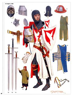 Knight Illustrated by Graham Turner English Medieval Knight Medieval Weapons, Medieval Knight, Medieval Fantasy, Armadura Medieval, Armor Clothing, Medieval Clothing, English Knights, Costume Français, High Middle Ages