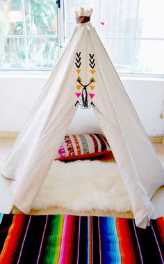 The Aztec Tipi - Kids Teepee in Hand Painted Natural Canvas - & Sticks at the Opening) Teepee Kids, Teepee Tent, Teepees, Tents, Ideas Geniales, Big Girl Rooms, Kids Corner, Kid Spaces, Kids Decor