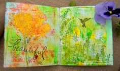 Gel printing  with Real Flowers in an Art Journal using a Gel Press plate