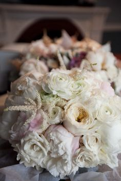 Romantic garden rose, peony and ranunculus bouquet