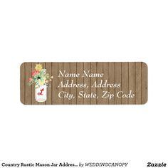 Country Rustic Mason Jar Address Label