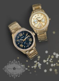 Holiday wardrobe inspirations. Fashion watches by Fossil at Bitter Sweet Jewellery. #Gold #evening #retro #sleek #sparkle #gift #costume #bold