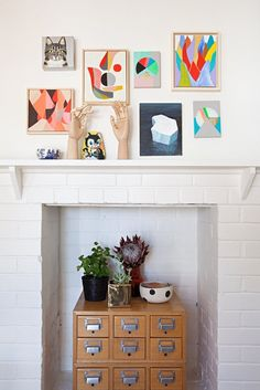 A chic way to style a non-working fireplace