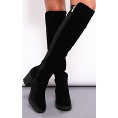 Dolly Rocka Giovanna Black Knee High Heeled Boots ($86) ❤ liked on Polyvore featuring shoes, boots, black, knee high boots, kohl boots, black knee high boots, heel boots and zipper boots