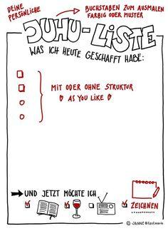Juhu-Liste: Was ich heute alles geschafft habe. Mit Anmerkungen zum Ausfüllen. Zeichnung und Foto: Janne Klöpper