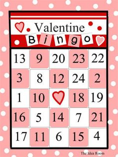 Assorted choices for printable Valentine Bingo cards for kids.