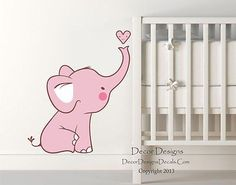 Cute Baby Pink Elephant Printed Fabric Repositionable Wall Decal Sticker