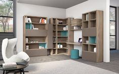 furniture, Interior Wall Units Design Ideas With Living Room Bookshelves Design Ideas And Wood Furniture Ideas With White Chair And Grey Rug...