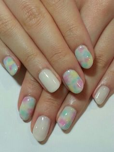 Tie Dye nails, love the #pastel color pallete