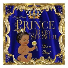 royal blue navy gold prince baby shower ethnic card | prince baby, Baby shower invitations