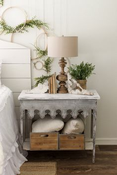 Nightstand. Bedroom nightstand ideas. Gable Lane Scalloped Edge Table. Gable Lane Scalloped Edge Table #GableLaneScallopedEdgeTable #bedroom #nightstand Home Bunch Beautiful Homes of Instagram @cottonstem