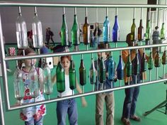 Musical playground piece with a selection water-filled bottles to play - Frankfurter Messe - Germany