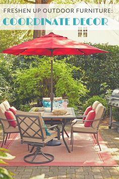 The perfect patio furniture and configuration is easily and affordably updated year after year by swapping out accessories. A coordinated rug, pillows, and umbrella come together in an outdoor dining area you can enjoy all season.