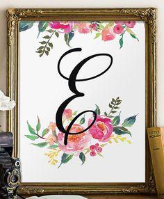 Floral monogram nursery decor personalised by TwoBrushesDesigns